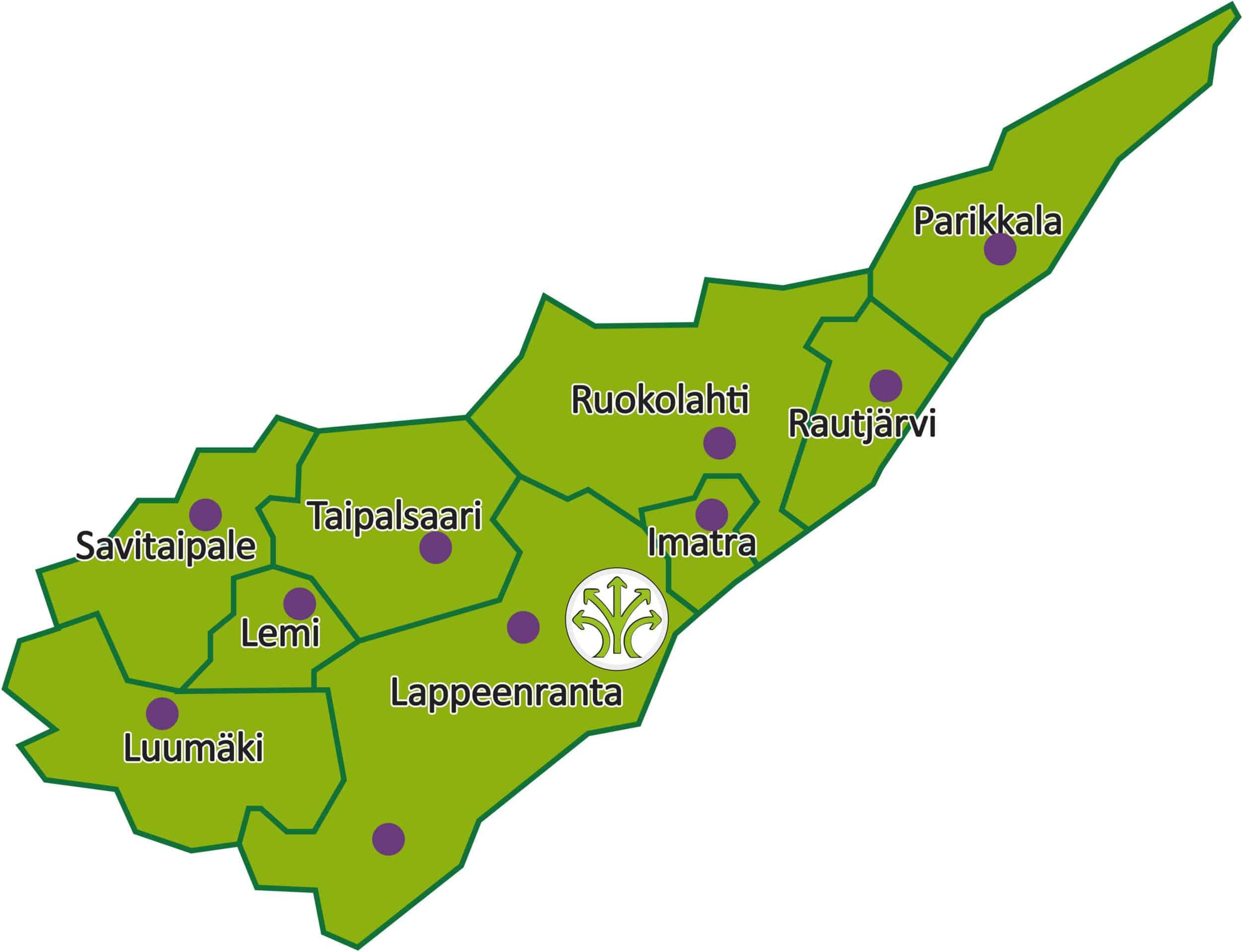 The map of South Carelia