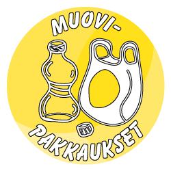 Sisäroksiksiin tarkoitettu pyöreä muovipakkaukset-tarra, missä on keltainen tausta ja piirretty kuva muovipullosta ja muovikassista..