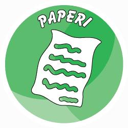 Sisäroksiksiin tarkoitettu pyöreä paperitarra, missä on vihreä tausta ja piirretty kuva paperiarkista.
