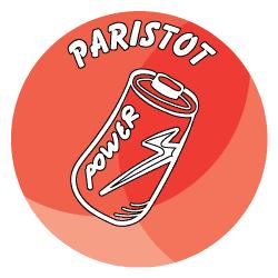 Sisäroksiksiin tarkoitettu pyöreä tarra, missä on punaisella taustalla piirretty kuva paristosta.